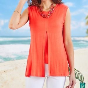 Daisy Fuentes Coral Double Layered Flyaway Tunic